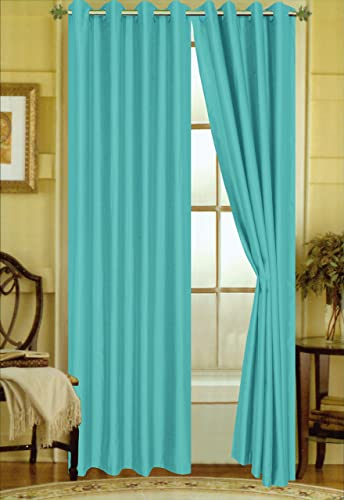 BH Home Linen A Pair of 2 Faux Silk Grommet Curtain Panels Turquoise, 58 x 108