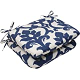 Pillow Perfect Indoor/Outdoor Bosco Rounded Seat Cushion, Navy, Set of 2