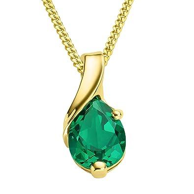 Miore Necklace - Pendant Women Chain Emerald White Gold 9 Kt/375 Chain 45 cm JB2Wg