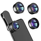 Phone Camera Lens,Upgraded 3 in 1 Phone Lens kit-198° Fisheye Lens + 20X Macro Lens + 120° Wide Angle Lens,Clip on Cell Phone Lens Kits Compatible with iPhone,iPad,Most Android Phones and Smartphones (Color: Black 3 in 1 phone lens kit, Tamaño: 3 in 1 phone lens)