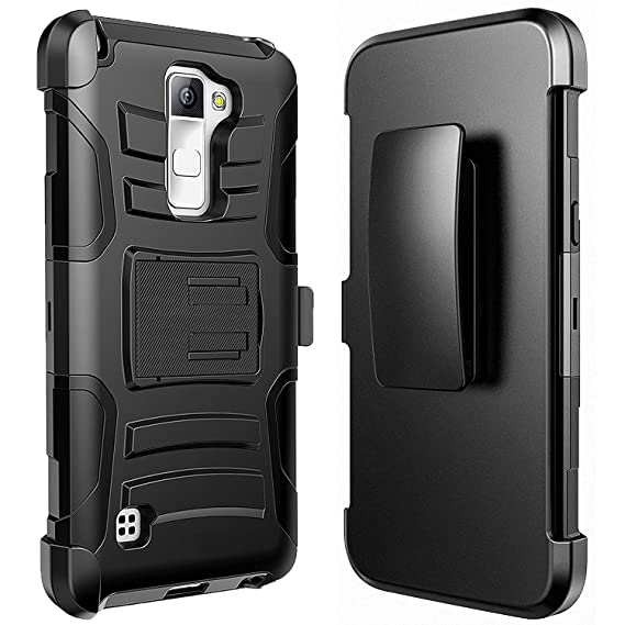 100% authentic e40b2 a8e2d LG K8 V Case, LG K8V Case, Combo Shell Phone Cover Kickstand with Built-in  Holster Locking Belt Clip + Circlemalls Stylus Pen-Black