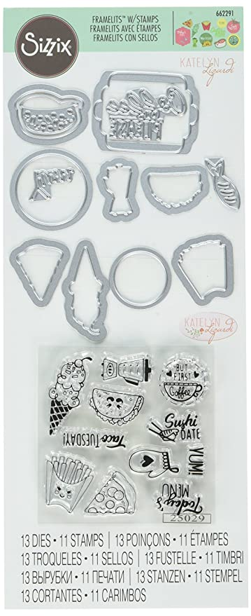 Amazon.com: Sizzix Stamps Foodie Planner Framelits Die Set ...