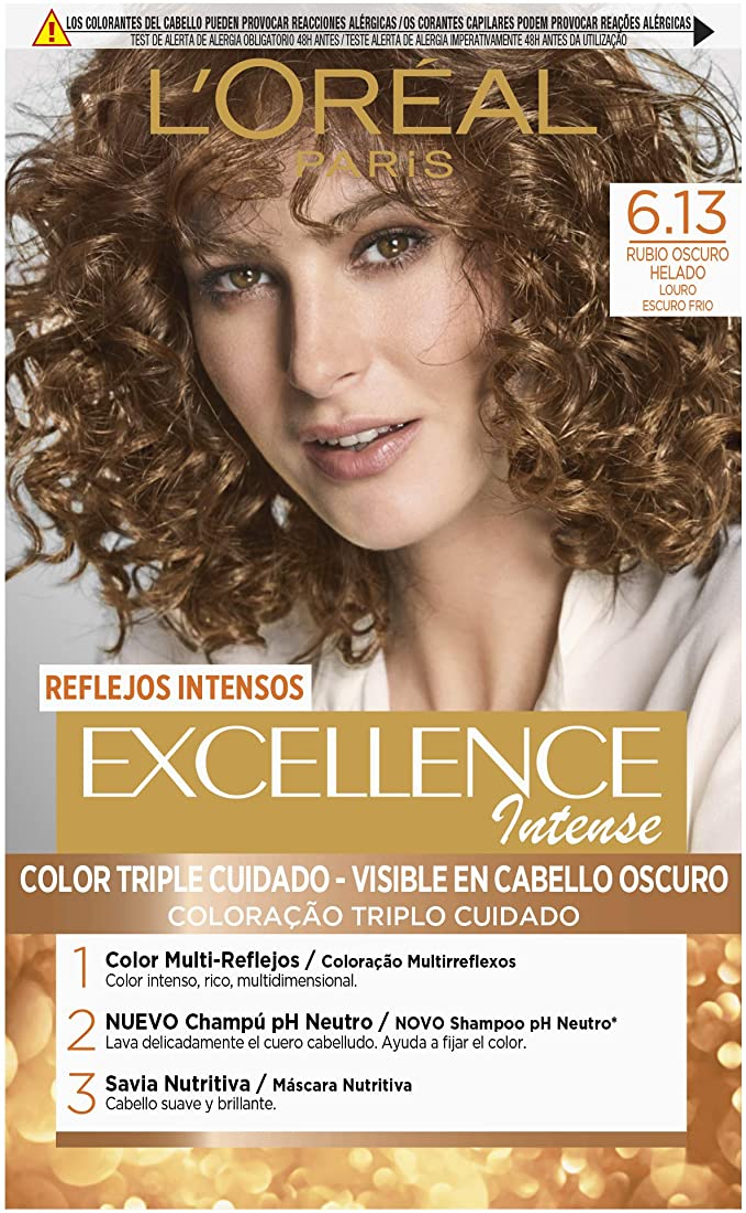 LOréal Paris Excellence Intense Coloración, Tono: 6,13 Rubio Helado