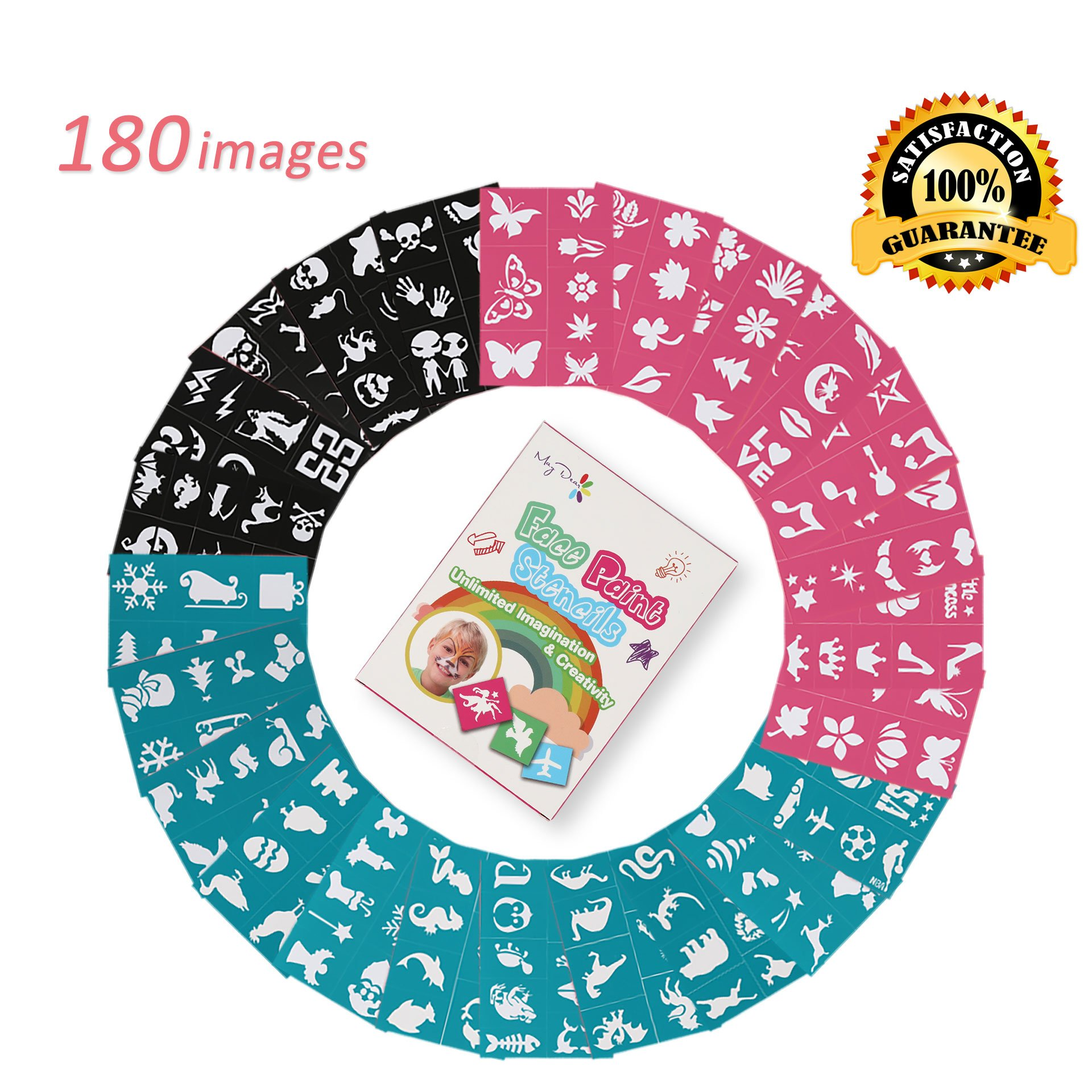 Face Paint Stencils for Kids (180 Designs) - Reusable, Soft and Easy to Stick Down, Non-Toxic to Kids and Perfect for Parties, Christmas, Halloween, Carnivals, School & Church Events