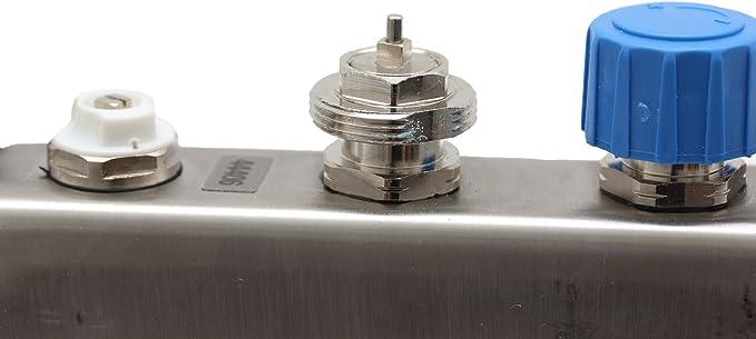 para suelo radiante indicador de caudal circuitos de calefacci/ón: 2 circuitos de calefacci/ón Distribuidor del circuito de calefacci/ón de acero inoxidable