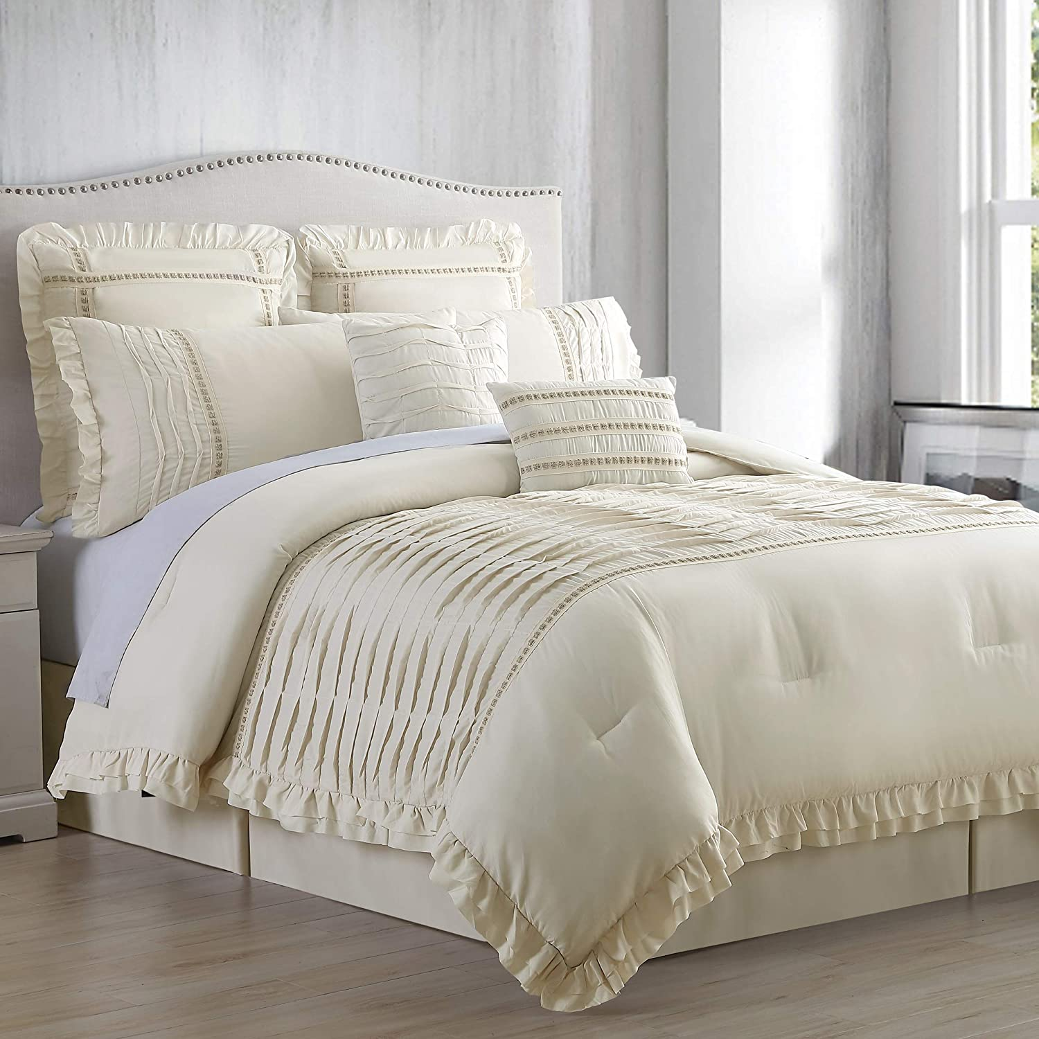 Amrapur Overseas Antonella 8-Piece Pleated (King, Sand) Comforter Set, Beige
