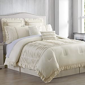 Amrapur Overseas Antonella 8-Piece Pleated Comforter Set, Queen, Beige