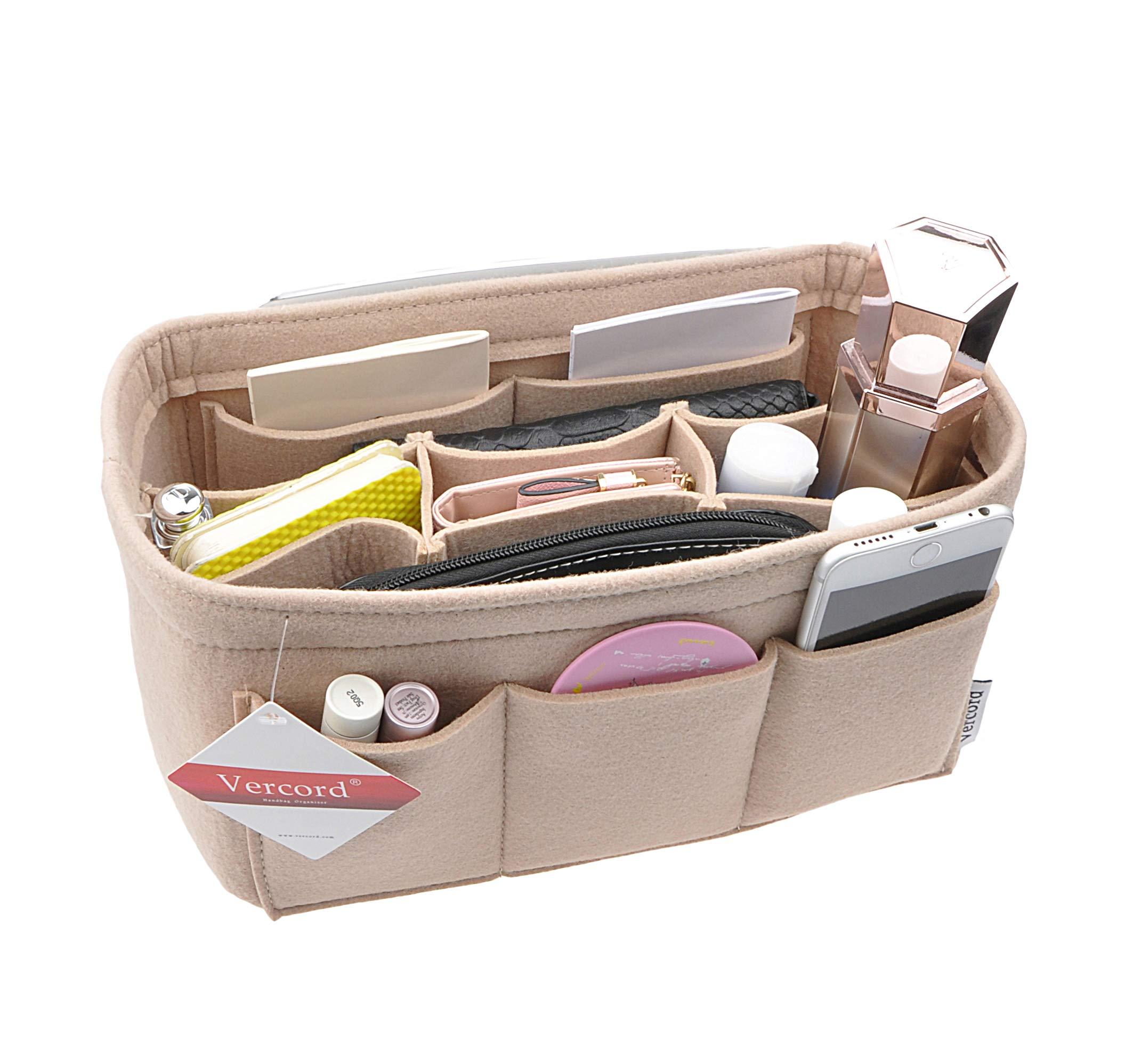 Women's Purse Organzier Sturdy Felt Handbag Liner Insert Bag Beige M