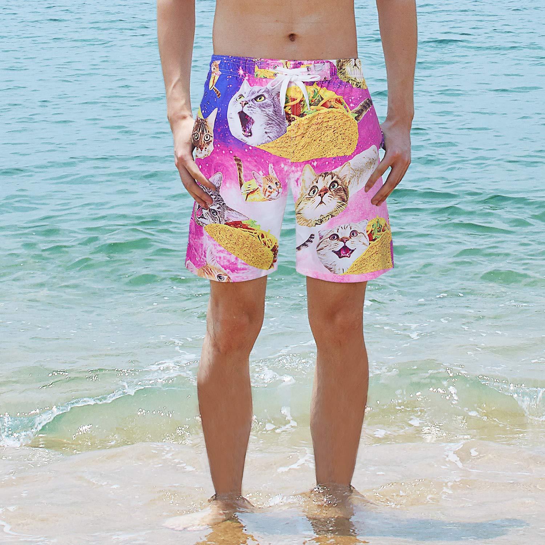 ccfc42e356 NICOMIDEA Boys Swim Shorts Pizza Cat Swim Trunks Bathing Suits Kids  Swimsuit Swim Shorts with Mesh