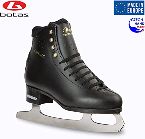 Botas – Model CEZAR Made in Europe Czech Republic Figure Ice Skates for Men, Boys Leather Stretchy Cuff Spirit Blades
