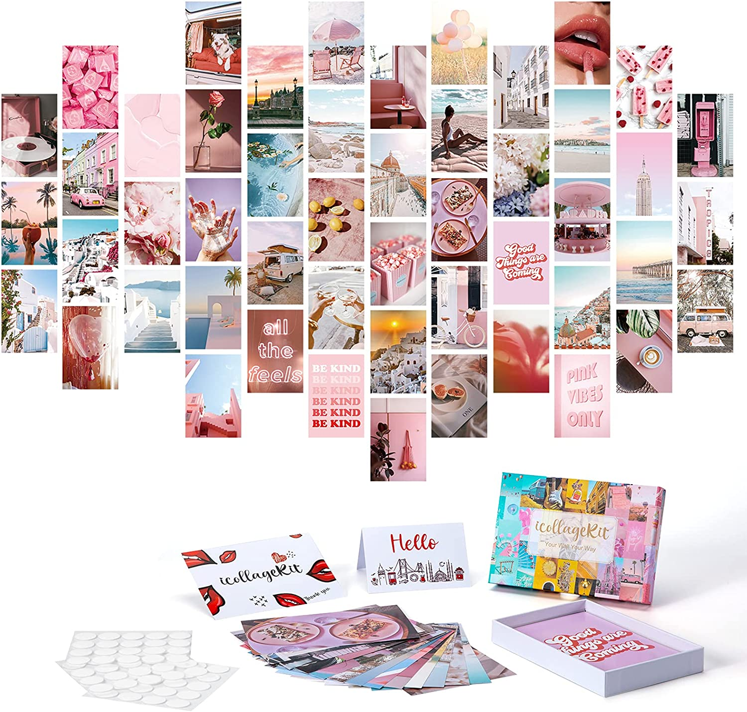 ONE WALL Photo Collage Kit for Wall Aesthetic Room Decor, Pink Aesthetic Pictures for Wall Collage, 4x6 inch Photo Prints VSCO Poster for Bedroom, Wall Art Print Dorm Wall Decor for Teen Girls