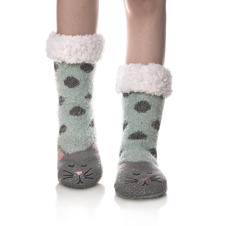 WENER Women Winter Socks Knit Anti-Slip Sweat Warm Cute Cartoon Animals Fuzzy Home Slipper Socks