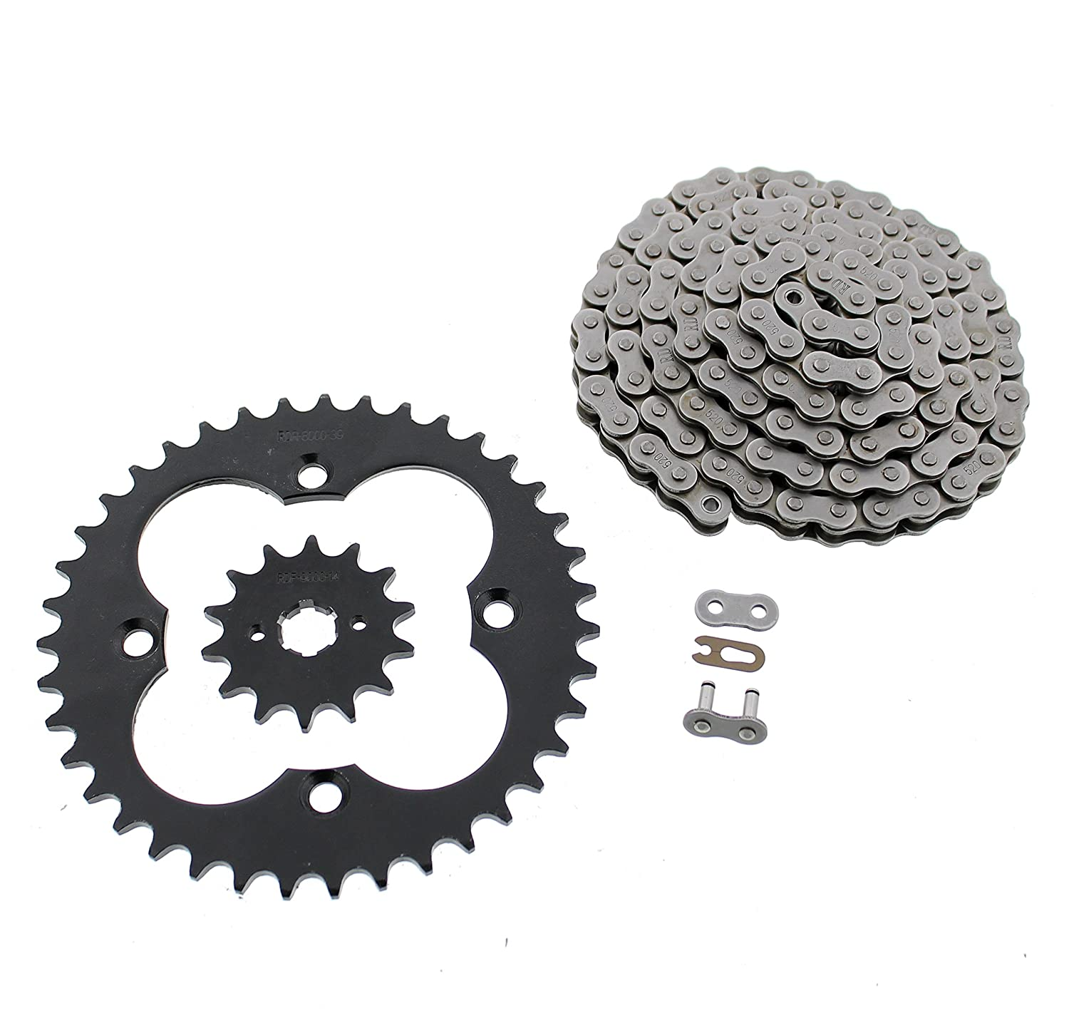 1999-2004 Honda 300EX TRX300EX Non O-Ring Chain & Black Sprocket Set 14/39 88L Race-Driven