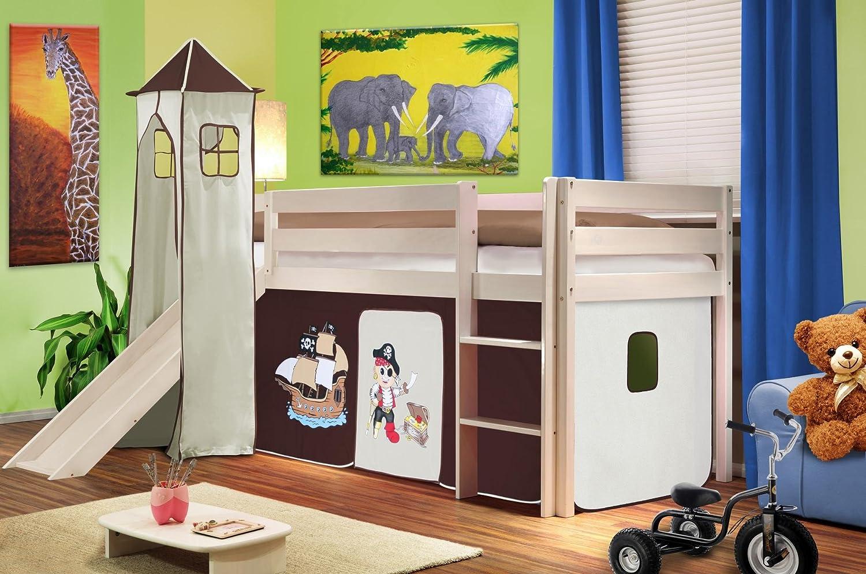 SixBros. Cama alta cama de juego con torre y tobogán pino maciza blanco - Pirata marrón/beige - SHB/62/1032