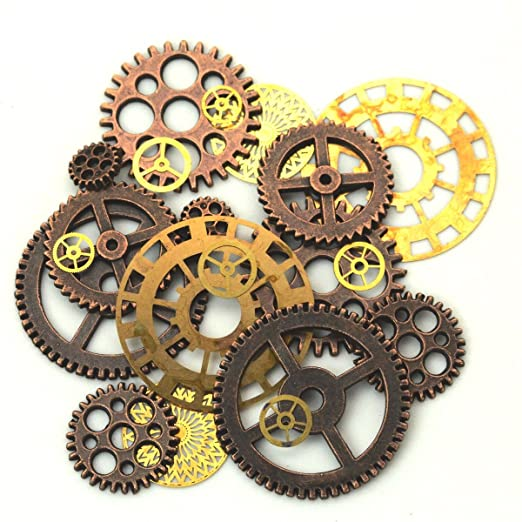 amazon com set of victorian style gears and cogs steampunk jewelry