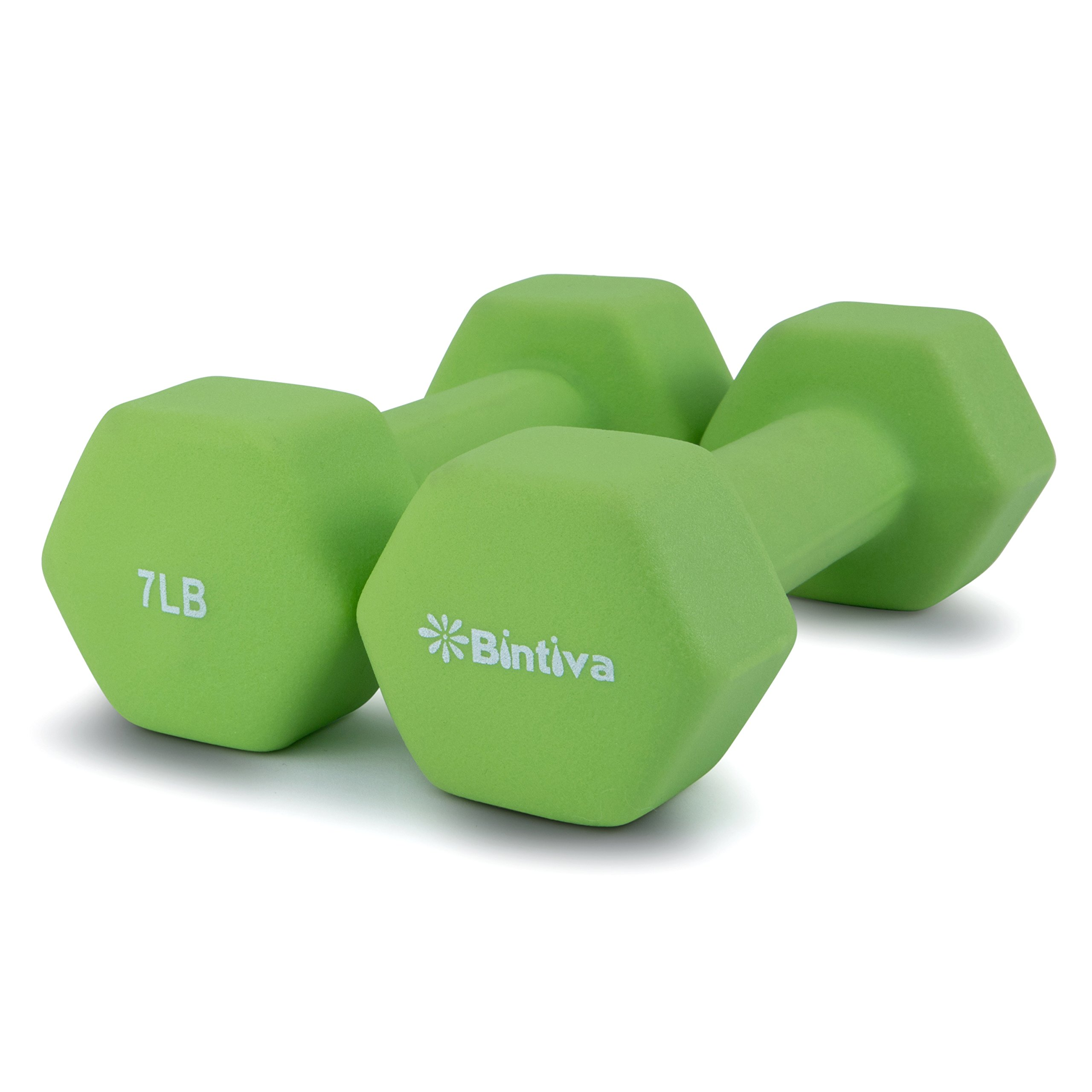 Bintiva Professional Grade, Non Slip Grip, Neoprene Coated Dumbbells 7 lbs Pair(green)
