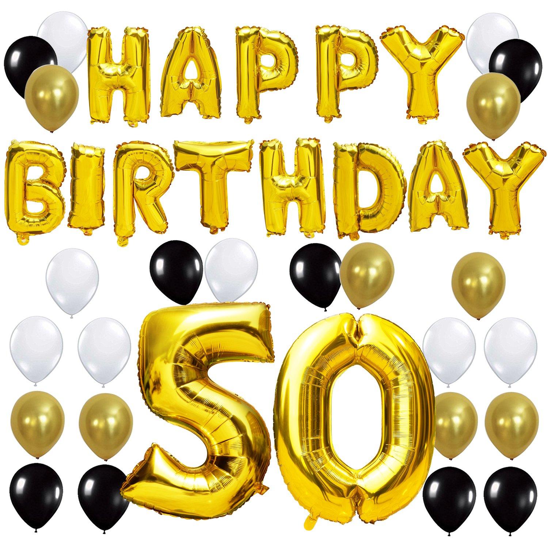KUNGYO Letras Tipo Balón Doradas Happy Birthday+Número 50 Mylar Foil Globo+24 Piezas Negro Oro Blanco Globo de Látex 50 Años de Antigüedad Fiesta de ...