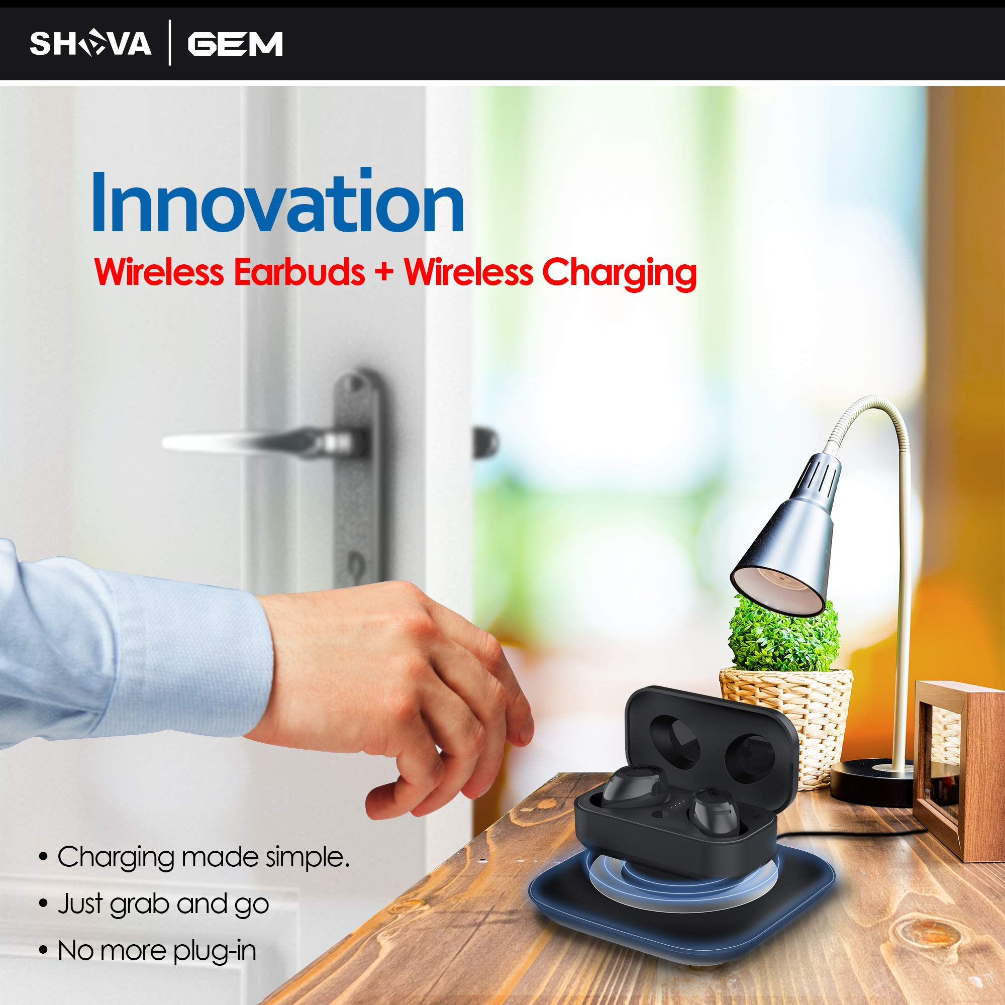 SHAVA GEM Wireless Earbuds, Bluetooth Headphones with Noise Cancelling and Microphone, True Wireless Earbuds with Wireless Charging and 3D Stereo Sound (Wireless Charger Included, Black Color)