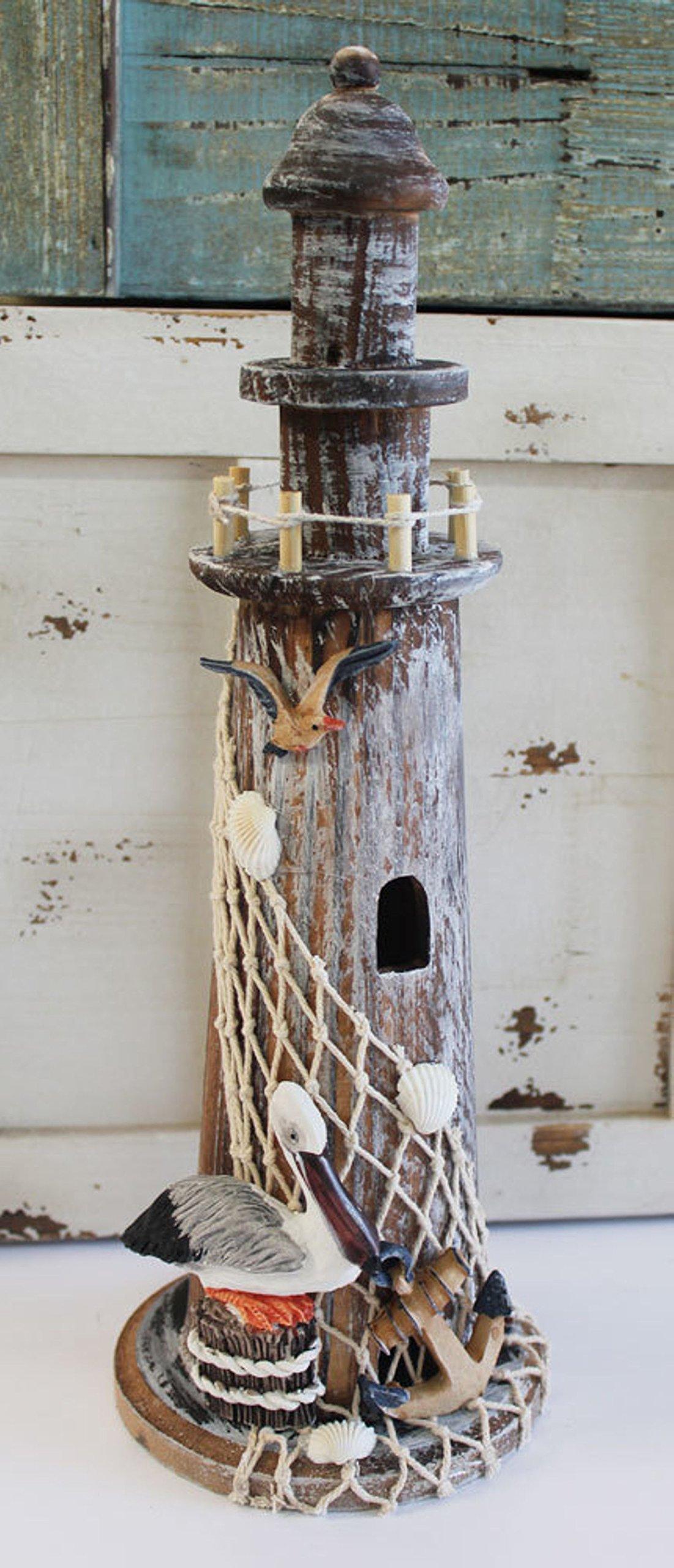 California Seashell Company Nautical Wood Lighthouse with Pelican