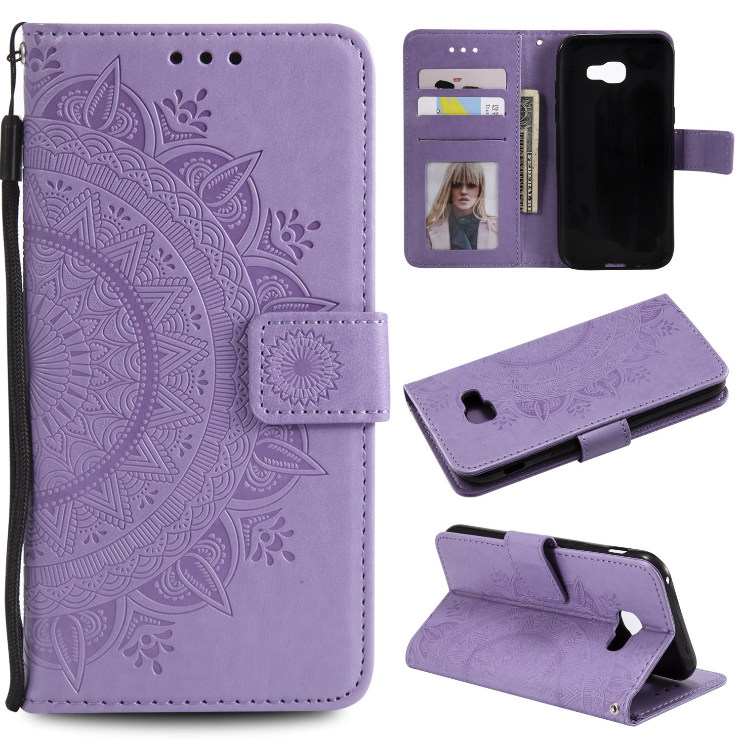 Galaxy A5 2017 Floral Wallet Case,Galaxy A5 2017 Strap Flip Case,Leecase Embossed Totem Flower Design Pu Leather Bookstyle Stand Flip Case for Samsung Galaxy A5 2017-Purple