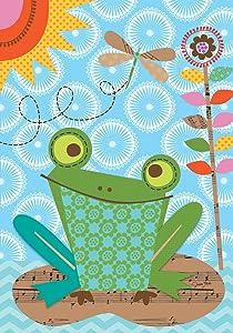 "Briarwood Lane Frog Summer Garden Flag Sunshine Lily Pad 12.5"" x 18"""