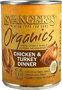Evanger's Dog & Cat Food Organics Chicken & Turkey for Dogs, 12-12.8 oz