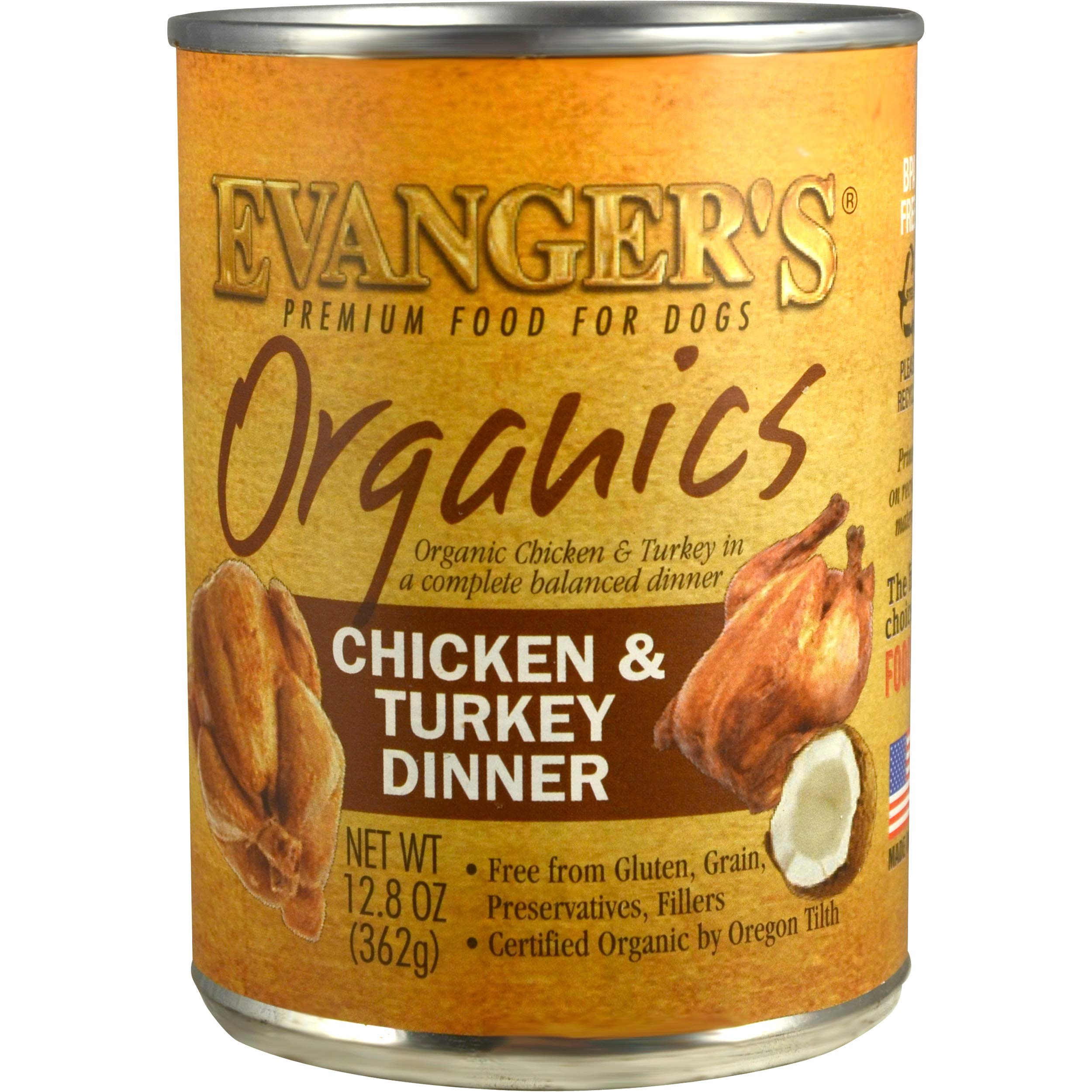 Evanger's Organics Chicken & Turkey with Coconut Oil for Dogs, 12 x 12.8 oz cans by Evanger's Dog & Cat Food Company, Inc.
