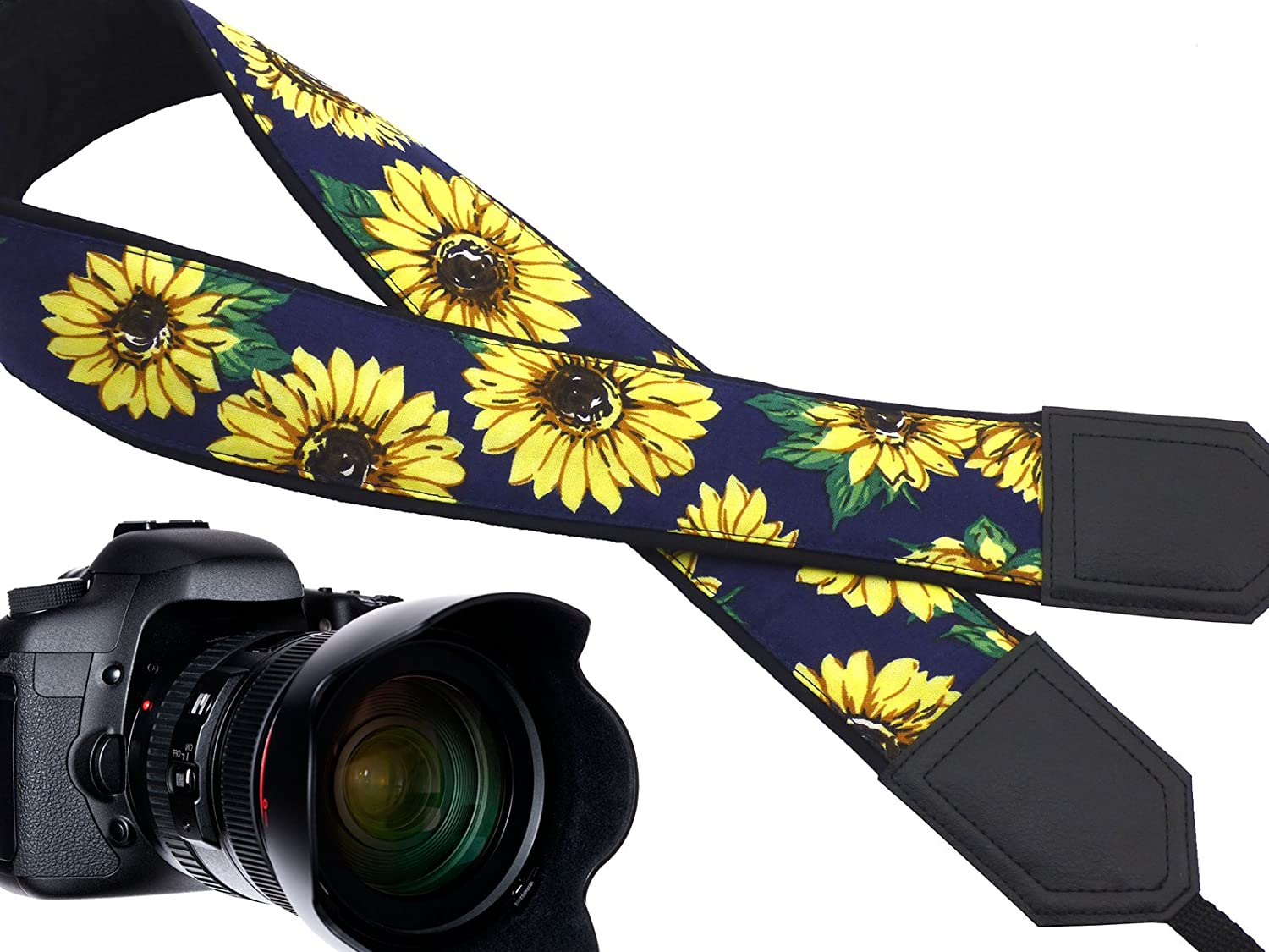 Adjustable InTePro Camera Strap with Sunflowers Design Light Weight /& Well Padded Camera Sling Yellow Flowers DSLR//SLR /& Mirrorless Camera Neck /& Shoulder Strap Durable