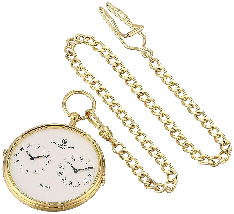 Charles-Hubert-Paris Herren-Armbanduhr 47mm Armband Messing Gold + GehÄuse Quarz Zifferblatt Weiß 3970-G