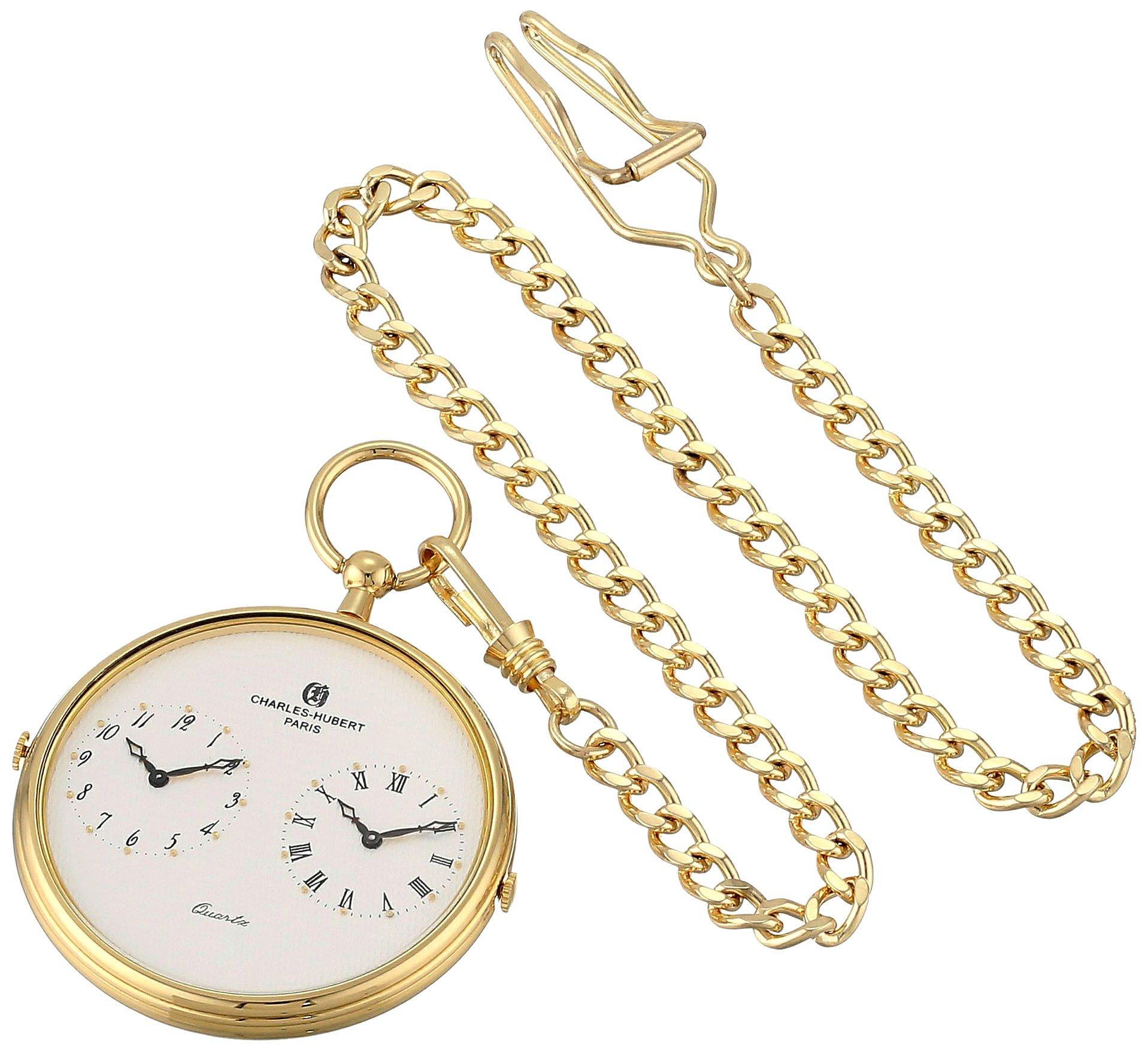 Charles-Hubert, Paris 3970-G Classic Collection Analog Display Quartz Pocket Watch by Charles-Hubert, Paris