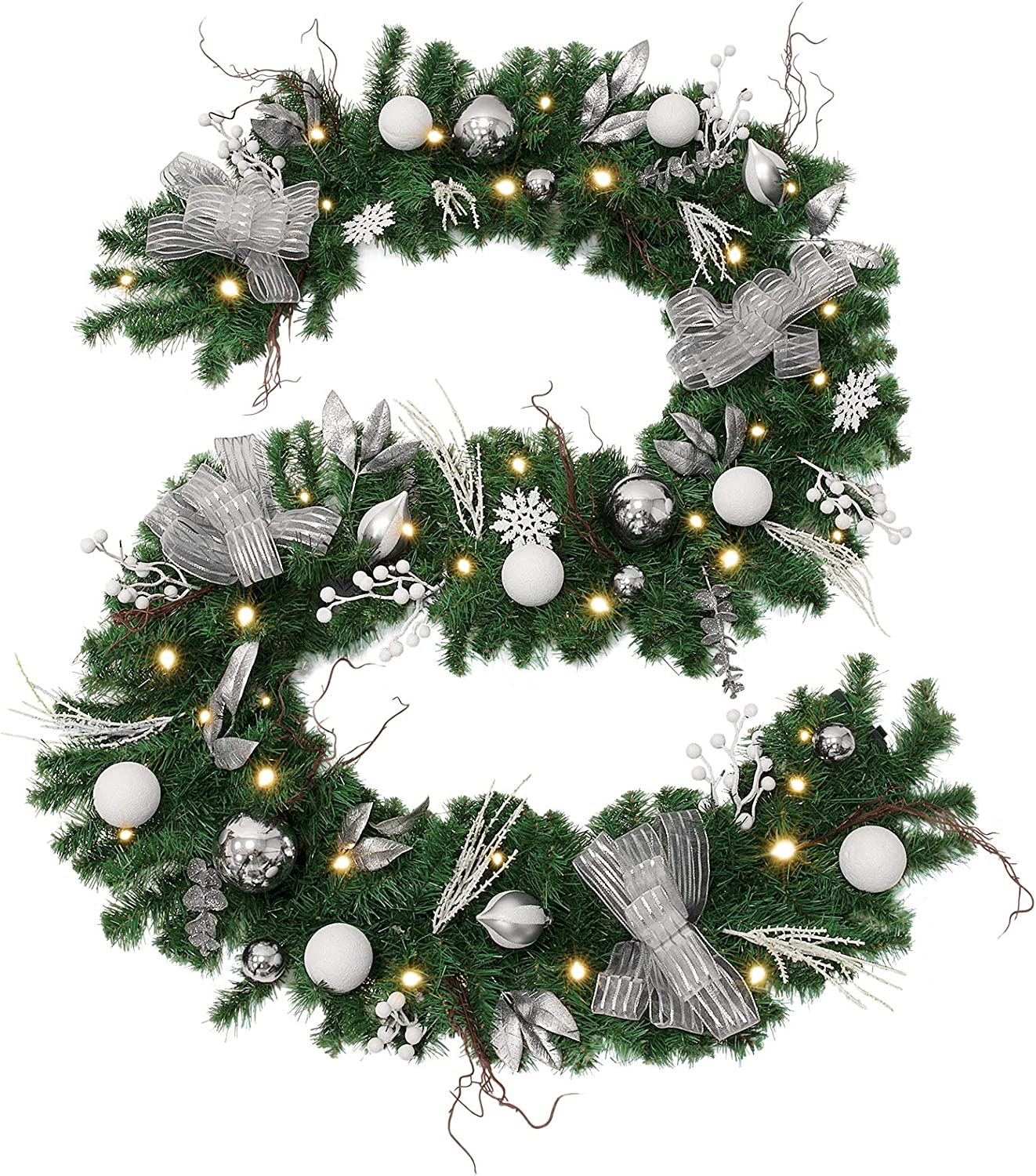 WBHome Pre-lit 9 Ft/106 Inch Christmas Garland Silver White Themed with 50 LED Lights, 250 Branch Tips, Battery Operated (Batteries NOT Included)