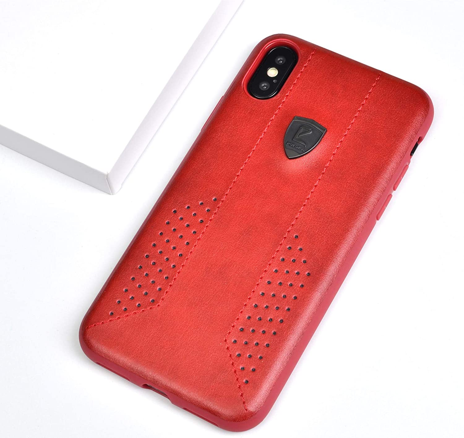 best website b1302 9f33f TRIZEN PULOKA Leather Finish 2 Side Dotted Case for iPhone X (Red)