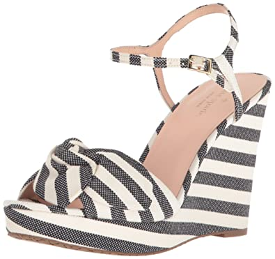 dff447ea62ba Kate Spade New York Women s Janae Wedge Sandal Black Cream Striped Canvas 6  Medium US