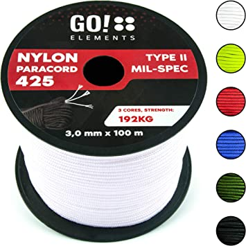 GO!elements 100m Cuerda Paracord de Nylon Resistente al desgarro - 3mm Paracord 425 Tipo II líneas como Cuerda para Exteriores, Cuerda para Todo Uso - ...
