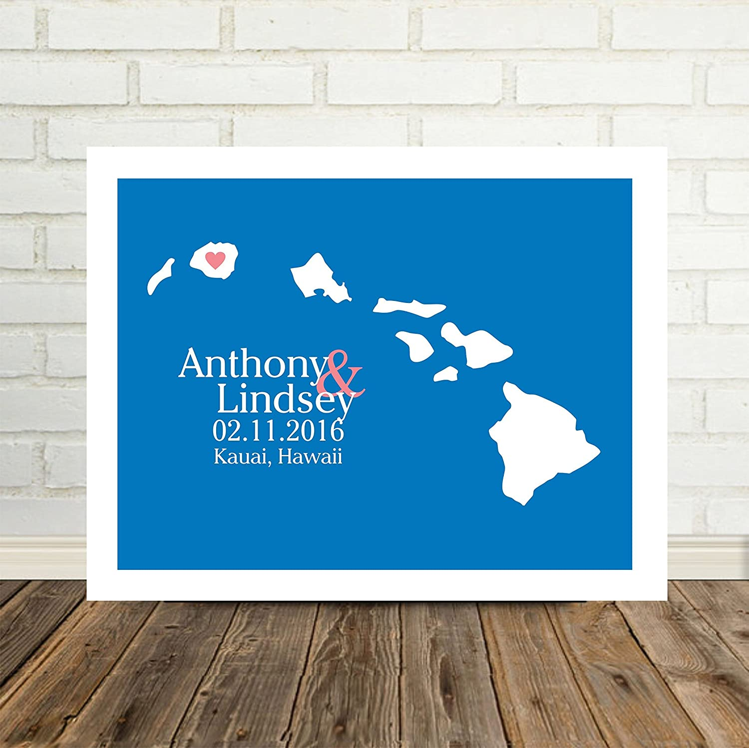 Hawaii State Map Personalized Hawaii Print Personalized Hawaii Map Custom  Wedding Map Any Location Available Worldwide Personalized Map Art