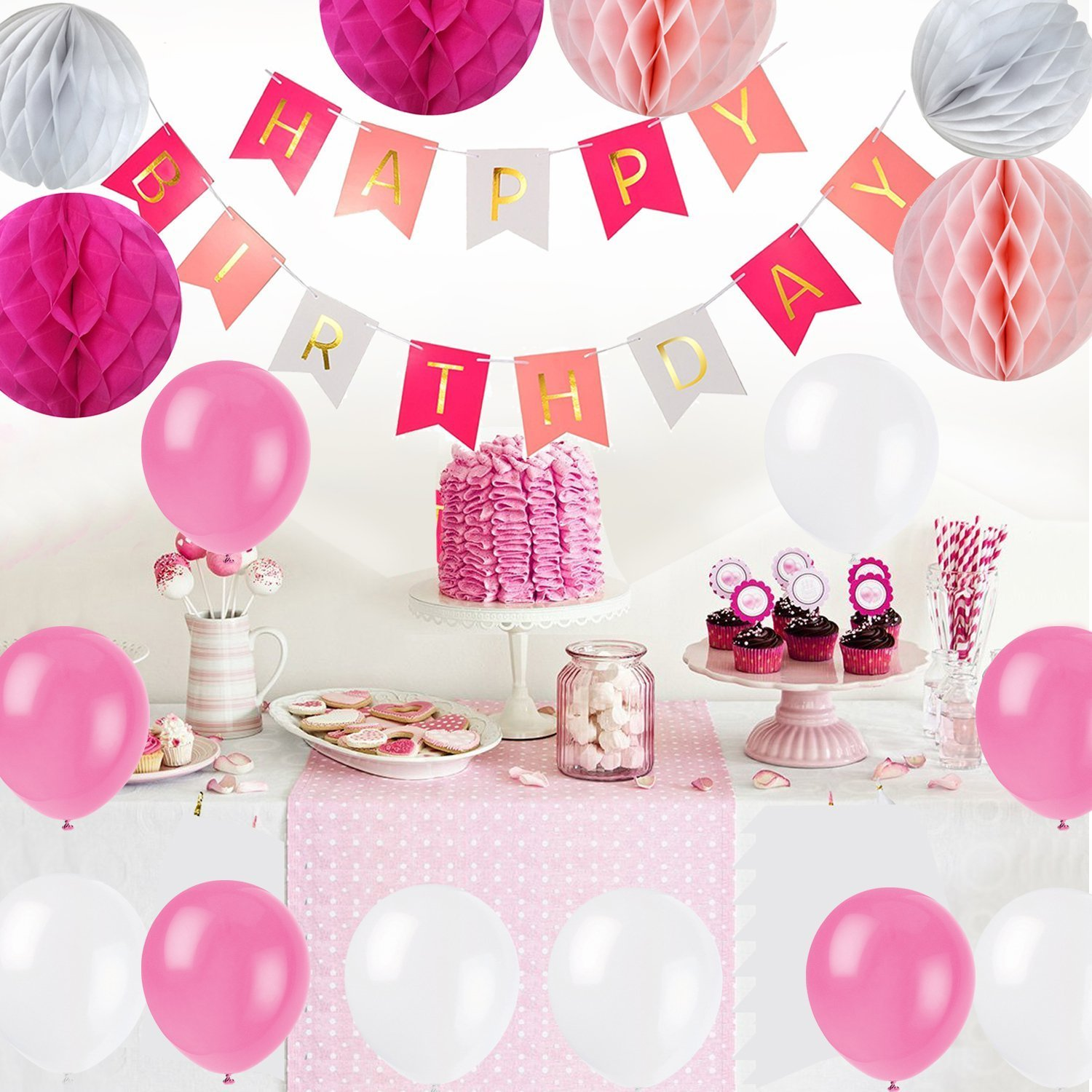 Ciaoed Happy Birthday Decorations Supplies Set Bunting Banner with Pearl Balloons,Honeycomb Balls,Folding Fan for Girl 's Party and Baby 1st Birthday Decoration Pack(Pink) Ciaoed6545