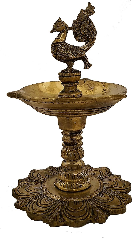 Indian Diwali Oil Lamp Pooja Diya Brass Light Puja Decorations Mandir Decoration Items Handmade Home Backdrop Decor Lamps Made in India Decorative Wicks Diyas Mayura Peacock Standing Deepam - Golden