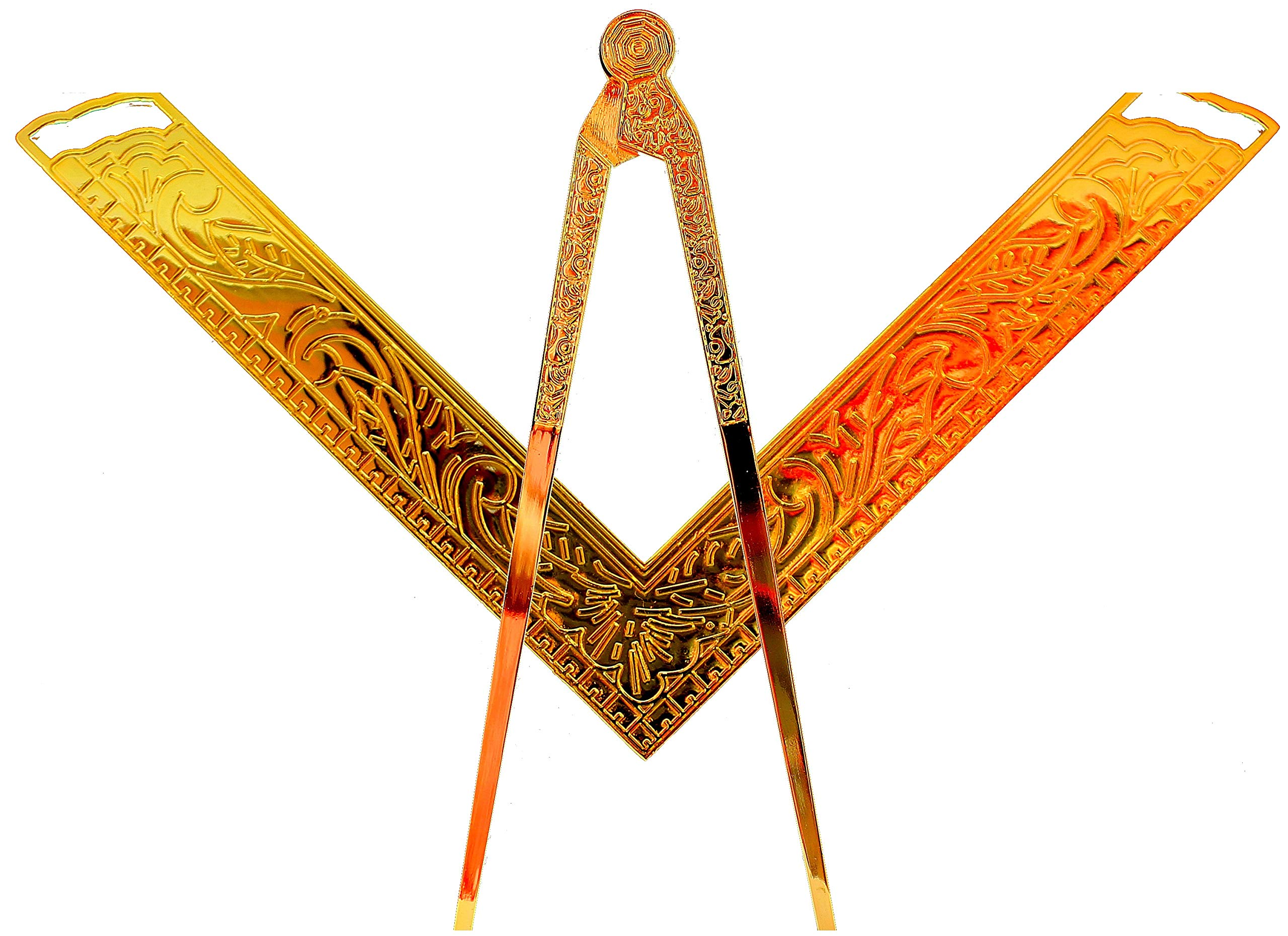 DEURA Masonic Lodge Ceremonial 6'' INCH Large Freemason Square & Compass for Bible Gold Plated