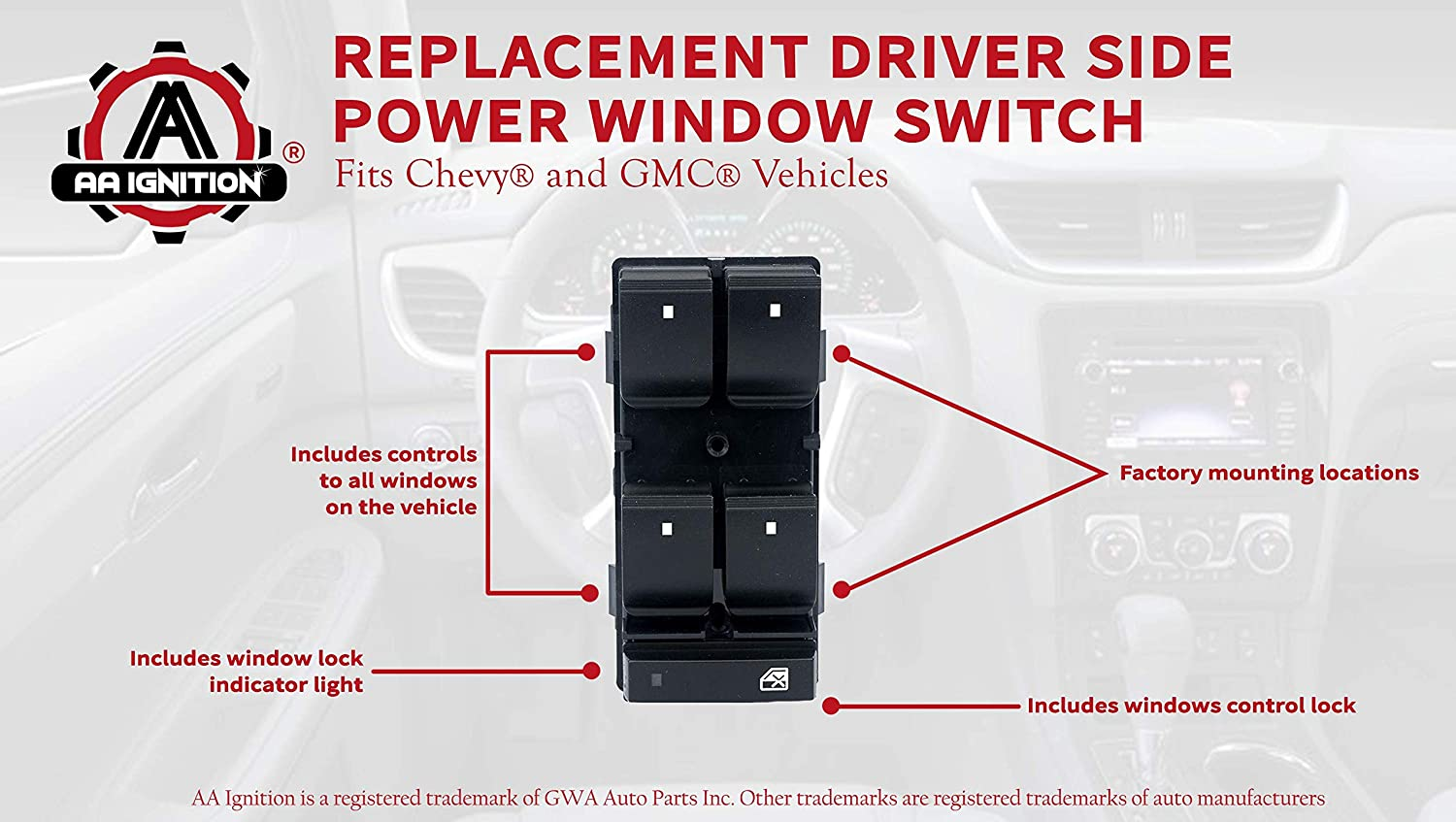 HHR 2009-2015 Driver Side Power Window Switch 25789692 Door Lock Switch Replacement Replaces# 25951963 GMC Sierra 2007-2013 /& Chevrolet Traverse 20945129 2500 Fits Chevy Silverado 1500