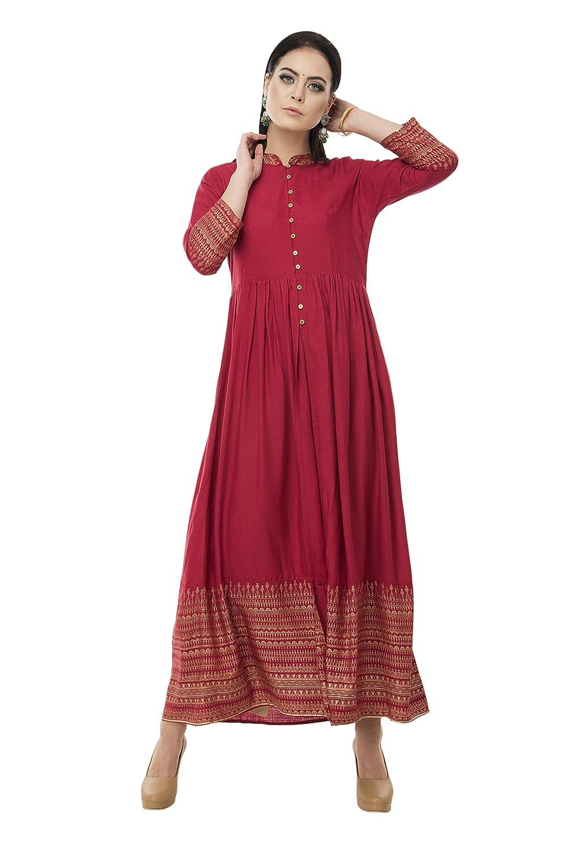SABHYATA Womens Kurta Ethnic Indian Kurtis Women Casual Tunic Kurti Tops Long Dress