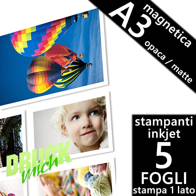 Confezione 5 fogli Carta fotografica Magnetica A3 Premium foto Matte Opaca per Stampanti INKJET 297x420 mm Druck Mich