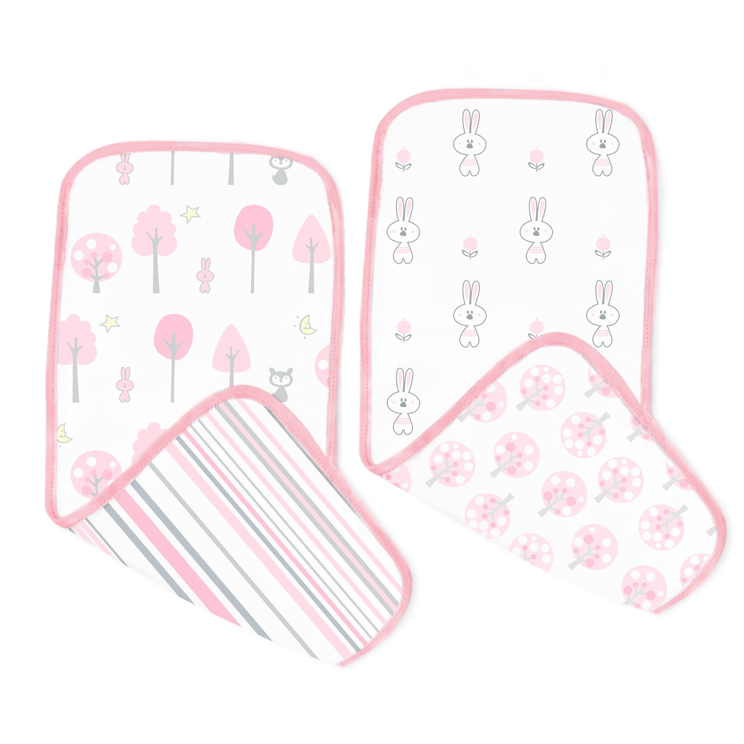 SwaddleDesigns Cotton Muslin Baby Burpies, Set of 2 Cotton Burp Cloths, Pink Thicket