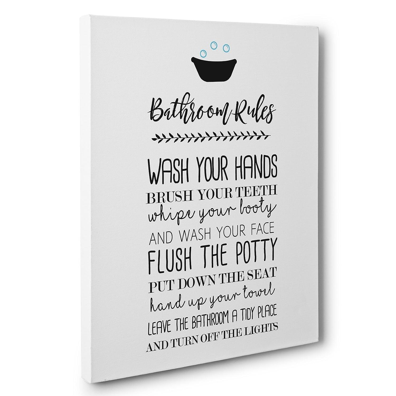 Bathroom Rules Bathroom Canvas Wall Art