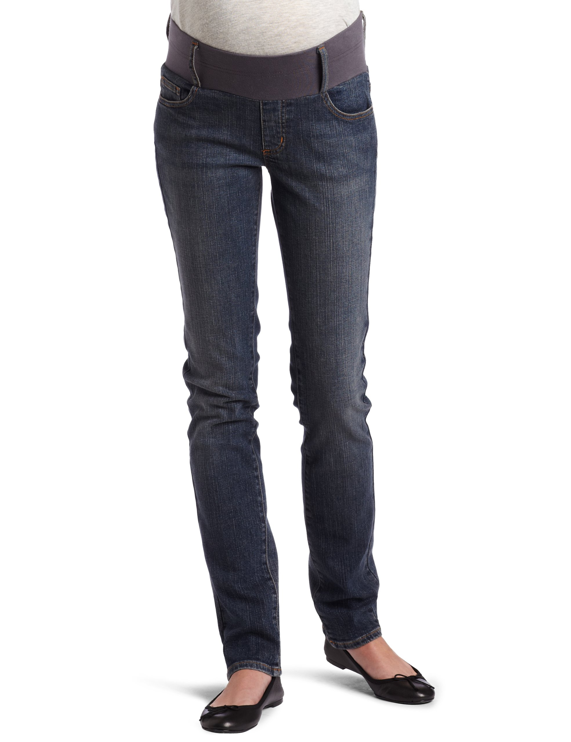 Maternal America Women's Maternity California Skinny Jeans, Dark Wash, Large
