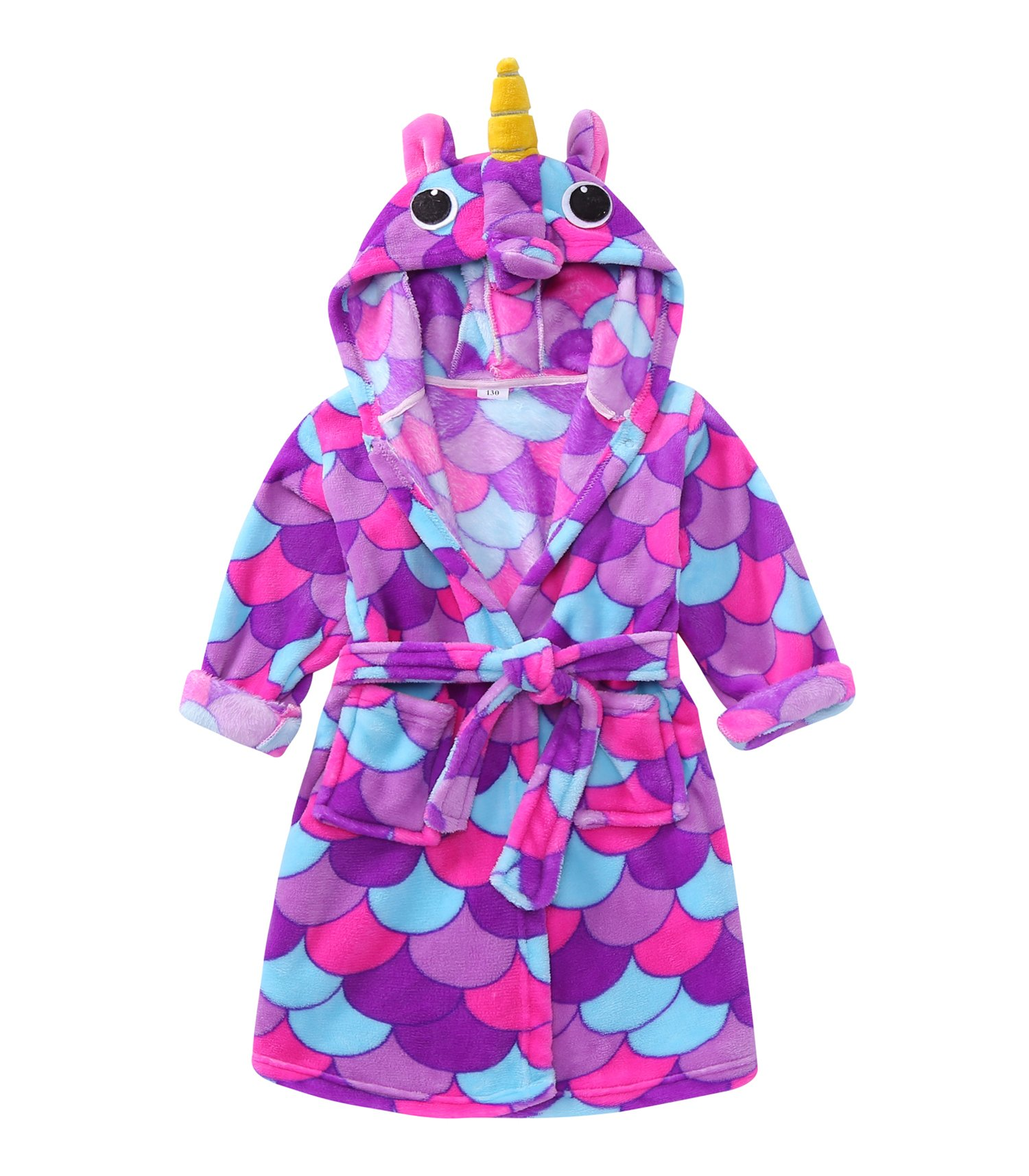 TOLLION Toddlers/Kids Hooded Girls Animal Fleece Bathrobe Boys Plush Robe Pajamas Sleepwear (3T, Unicorn Purple)