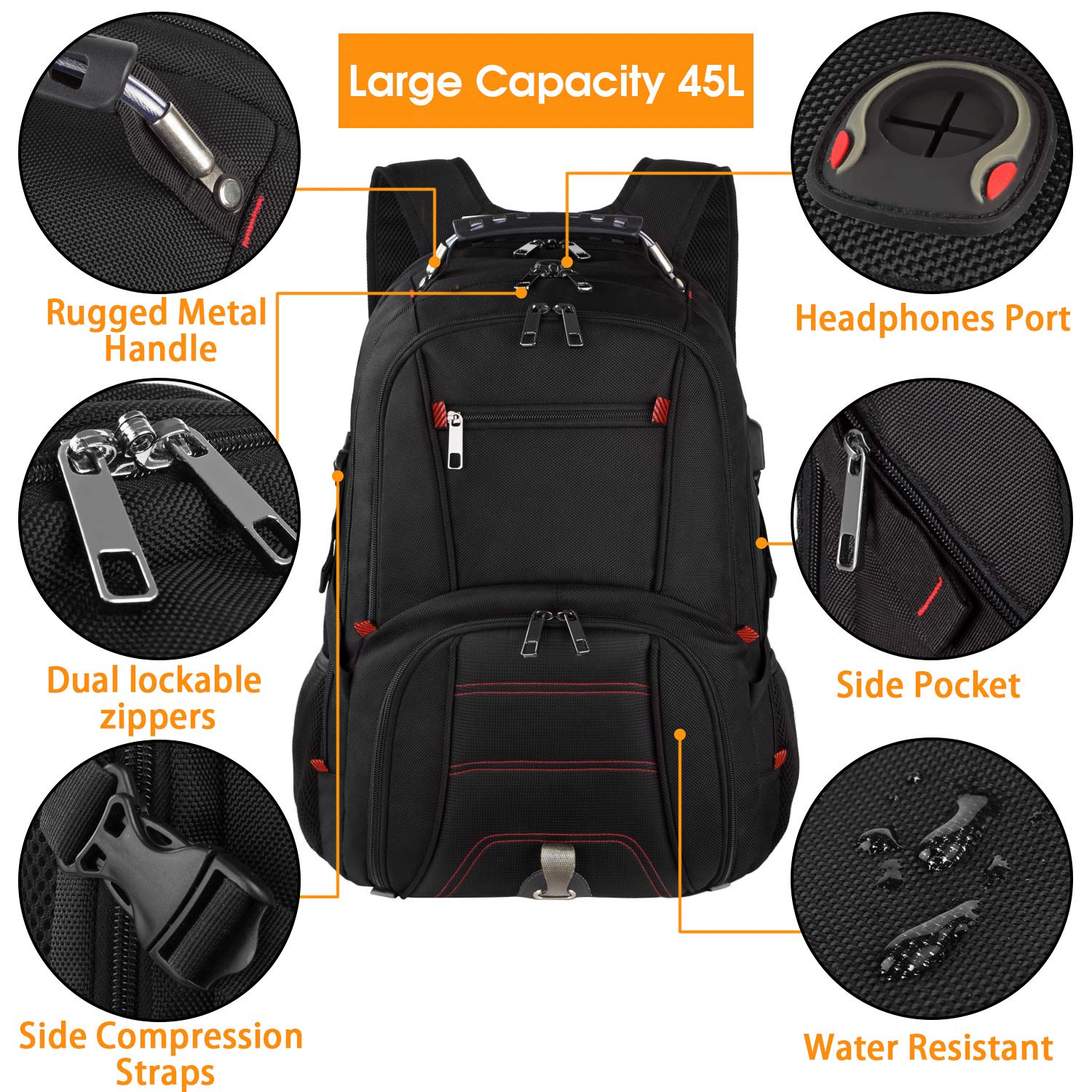Extra Large Backpack,Travel Laptop Backpack TSA Friendly Durable Computer Backpack with USB Charging Port for Men&Women,Water-Resistant Big Business College School Bookbag Fits 17 Inch Laptop&Notebook by Tinvic (Image #4)