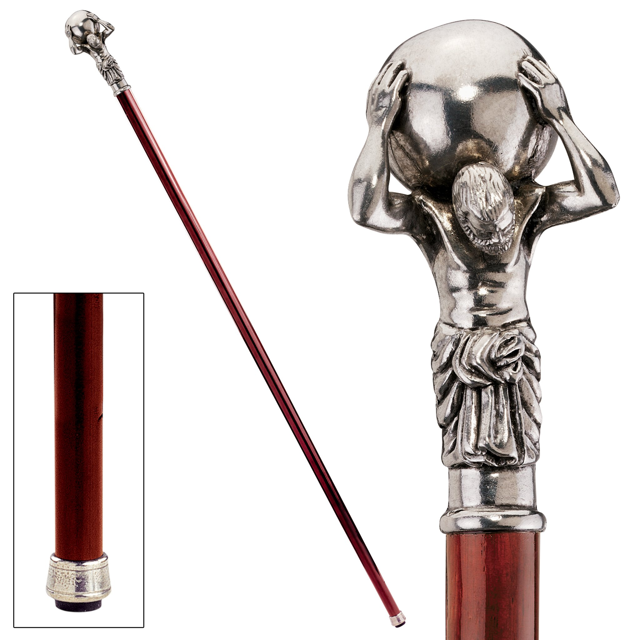 Design Toscano Atlas Walking Stick, 36 Inch, Pewter Handle and Hardwood Cane, Silver by Design Toscano (Image #2)