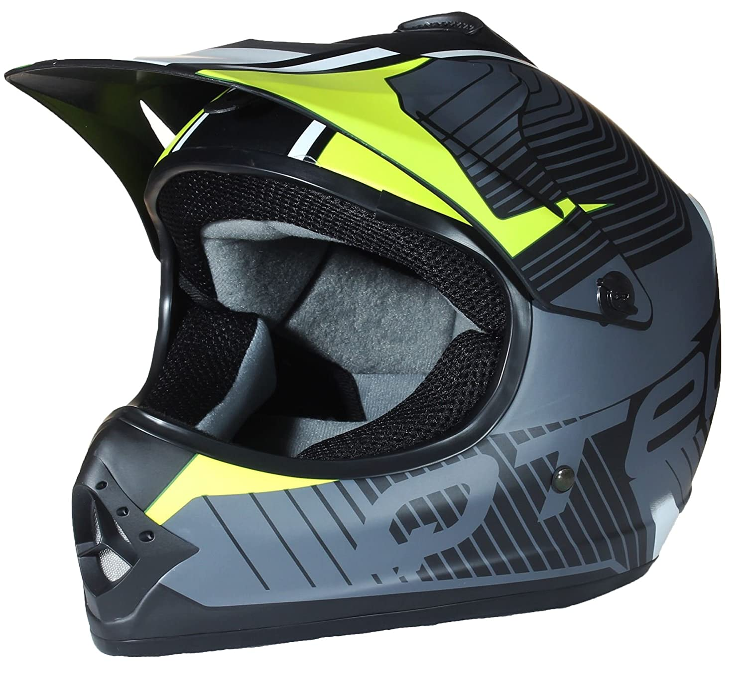 53-54cm S Giallo Casco MOTOCROSS per Bambino Moto Cross Enduro ATV MX BMX Quad Nero Opaco