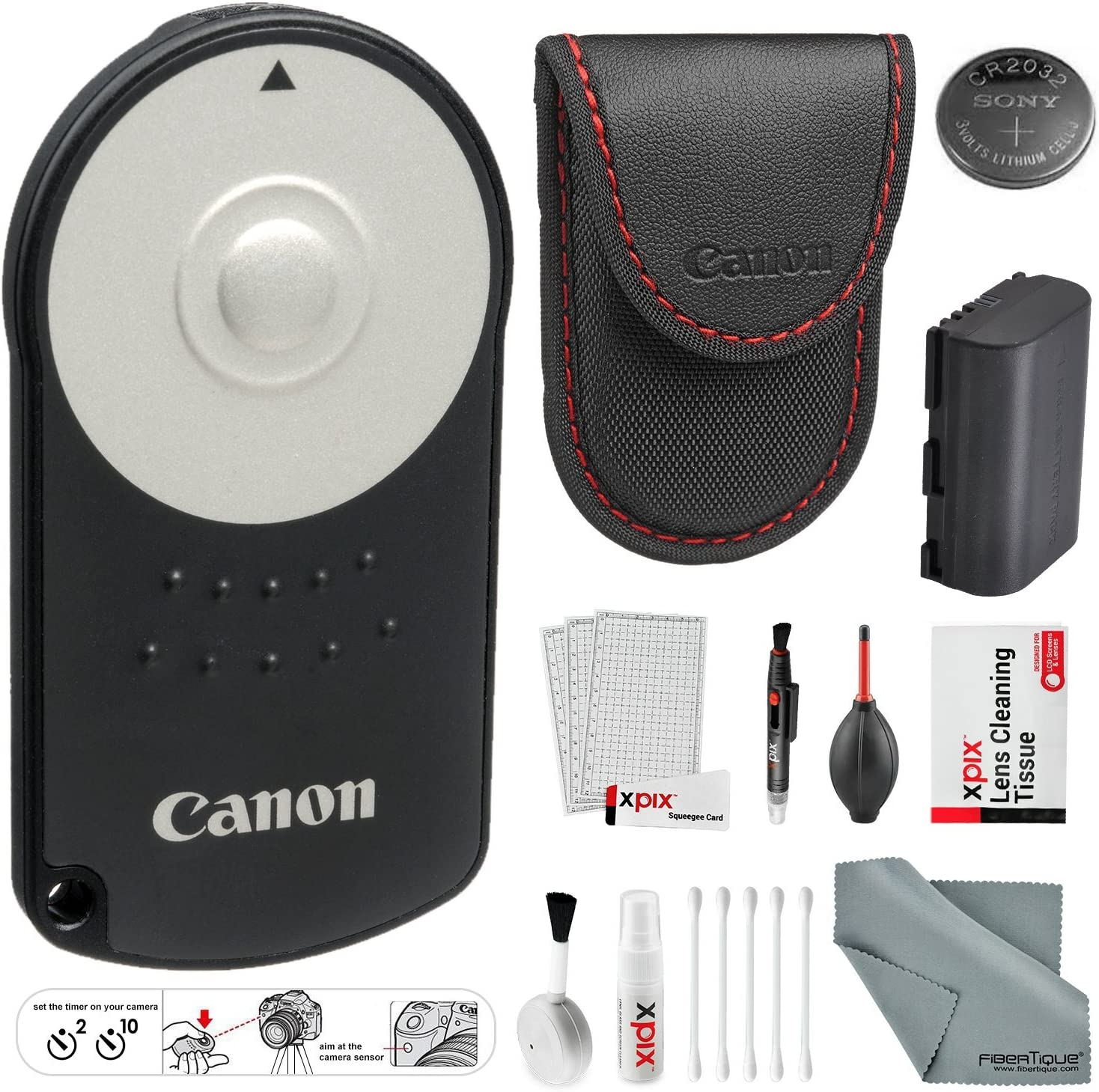 5D Mark III 70D 5DS for Canon EOS 5D Mark II 80D 7D Mark II 7D 5D Mark IV 5DS R Canon RC-6 Wireless Remote Control and Extra LP-E6 Battery 6D and XPIX Accessories