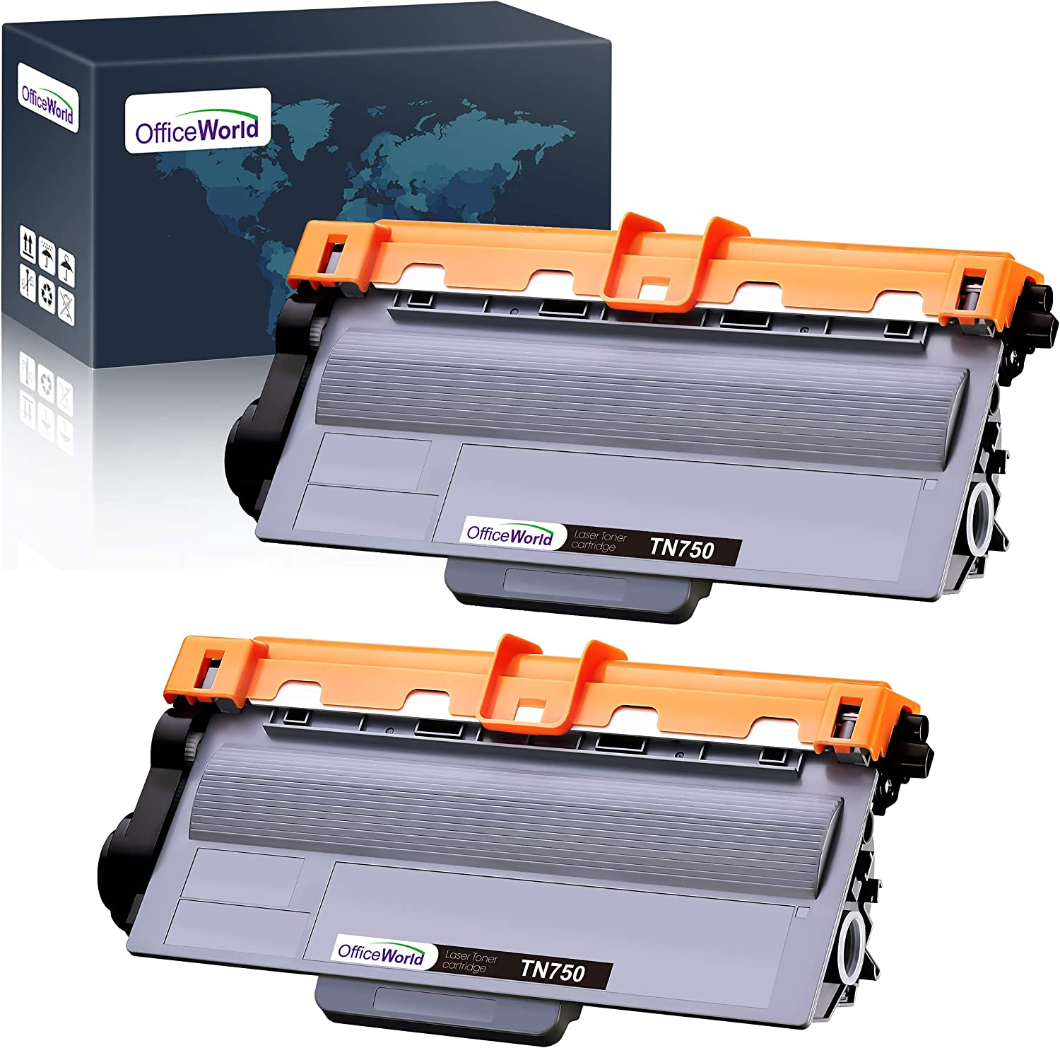 OfficeWorld Compatible Toner Cartridge Replacement for Brother TN750 TN-750 TN720 (Black, 2-Pack), Compatible with Brother HL-5470DW HL-5450DN HL-6180DW MFC-8710DW MFC-8910DW MFC-8950DW